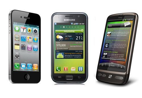 Touchhandys 2010: HTC Desire vs iPhone 4 vs Samsung Galaxy S im Vergleich