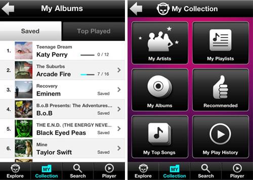 Apple App Napster Screenshots Album Playlist