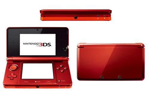 Nintendo 3DS drei Seiten Ansicht rot