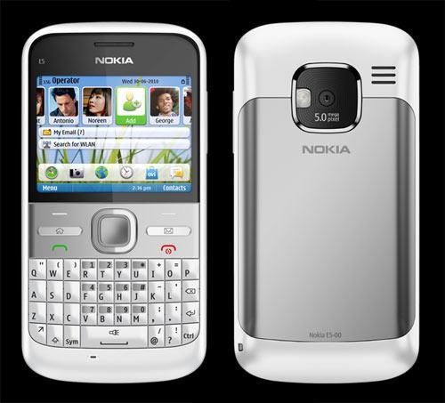 Handy Nokia E5 Silber Vorder-Rückseite