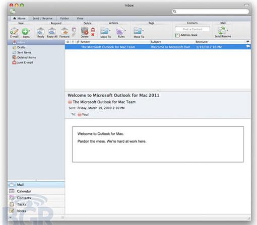 Micrisoft outlook 2011 Inbox