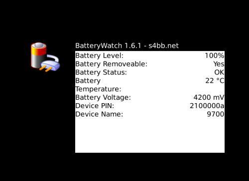 battery watch blackberry os app