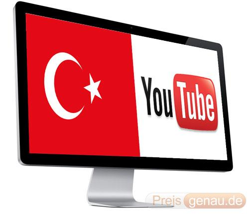 Monitor mit Türkischer Flagge und Youtube Logo