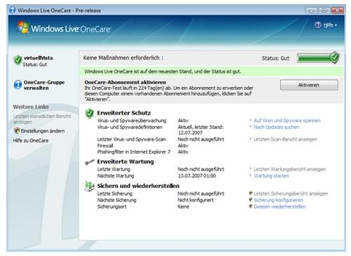 Windows Live OneCare Safty Scan