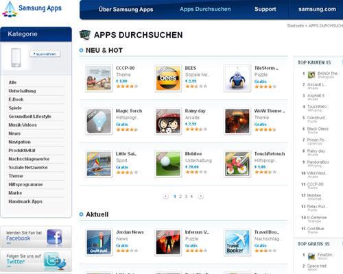 Samsung Appstore Screenshot Startseite