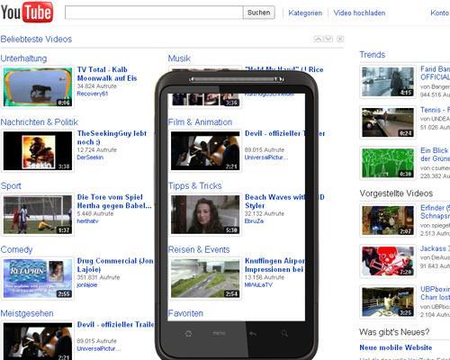Smartphone mit Youtube Screenshot