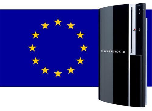 Playstation 3 vor Europa Flagge