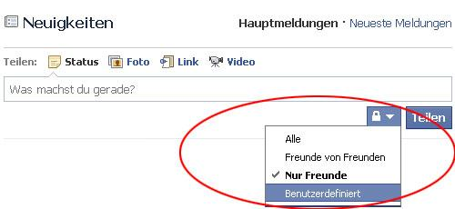 facebook Sicherheitstipps Neuigkeiten Sichtbarkeit Schloss