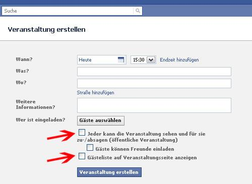 facebook Sicherheitstipps Privatsphäre Veranstaltungen