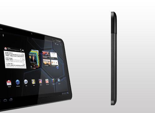 Motorola Xoom Schrägansicht und Seitenansicht