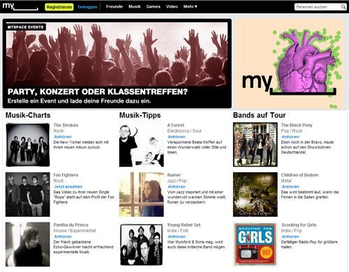 MySpace Startseite