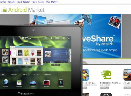 Blackberry Playbook vor Android Marktplatz