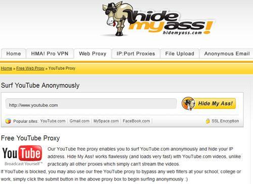 Hidemyass Web Proxy