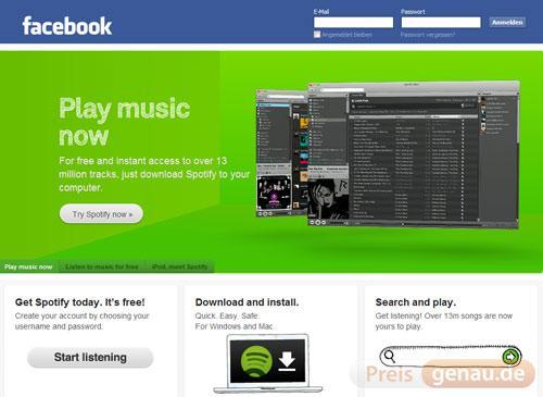 Facebook und Spotify