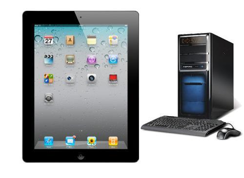 iPAd 2 vor Desktop PC