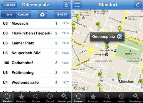 Apple App Abfahrtsmonitor