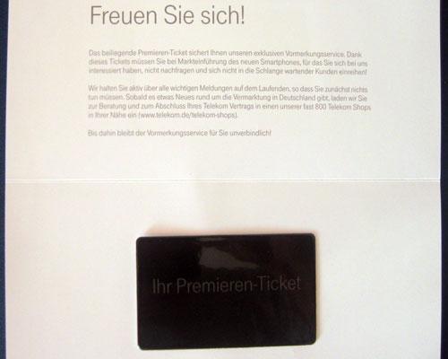 iPhone 5 Vorbestell Ticket Telekom