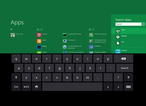 Windows 8 Apps Tastatur