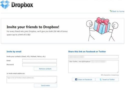 Dropbox freunde einladen