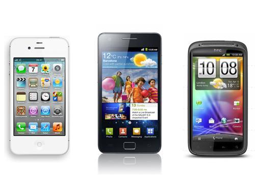 iPhone 4S Samsung Galaxy S2 HTC Sensation