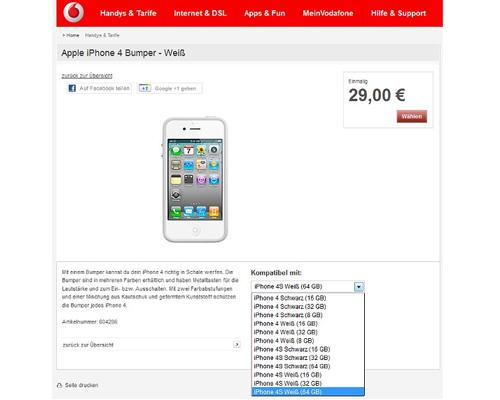 iPhone 4S 64GB oiPhone 4 8GB Vodafone