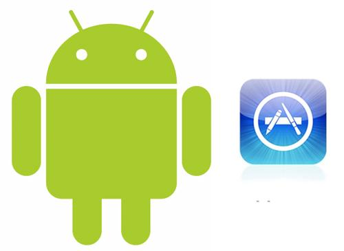 Android Logo vor Apple App Store logo