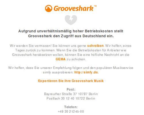 Grooveshark schließt in Deutschland die Pforten