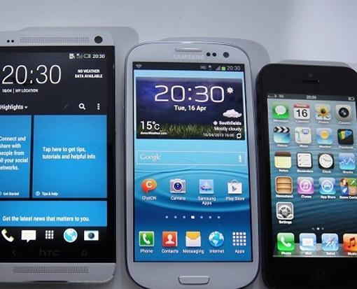 Samsung Galaxy S4, iPhone 5 und HTC One